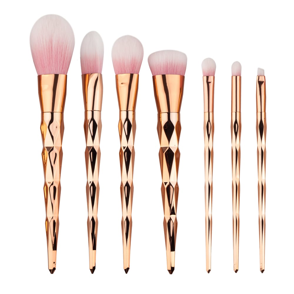 Glowii 7pcs Rose Gold Diamond Pink Hair Makeup Brush Set