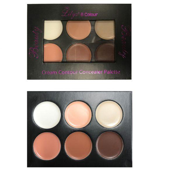 Lilyz 6 colour cream contour concealer palette Dark