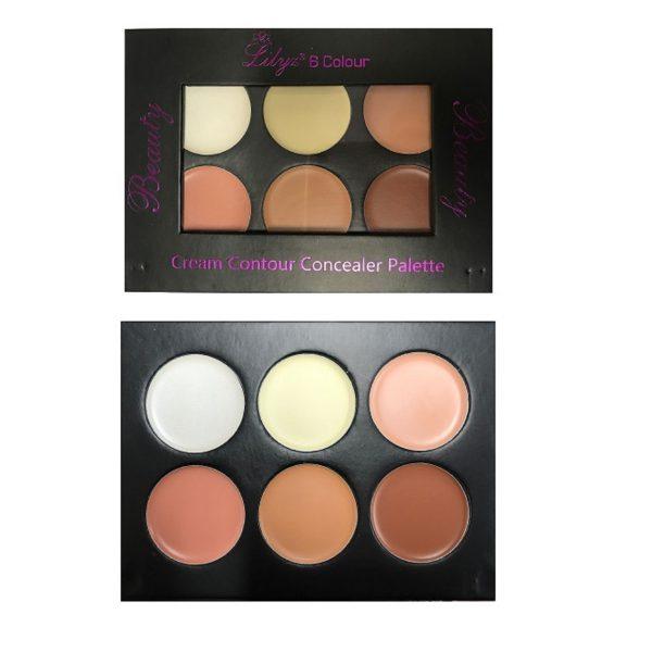 Lilyz 6 colour cream contour concealer palette Light