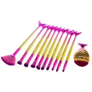 11pcs Hot-Pink Mermaid FishTail Eye Makeup Brush Set