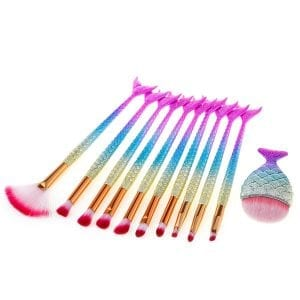 11pcs Shimmer Mermaid FishTail Eye Makeup Brush Set