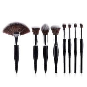 8pcs Black-Silver Makeup Brush Set