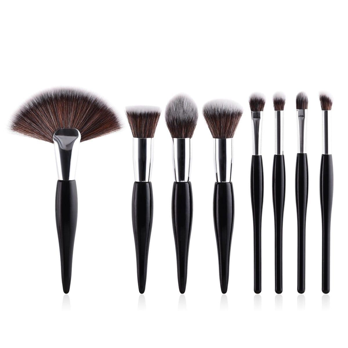 Glowii 8pcs Black-Silver Makeup Brush Set
