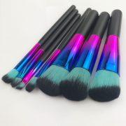 7pcs Metallic colours black-mint hair makeup brush set