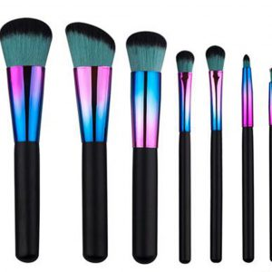 7pcs Metallic colours black-mint hair makeup brush set 6