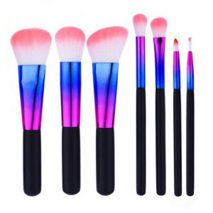 7pcs Metallic colours pink-white hair makeup brush set 5