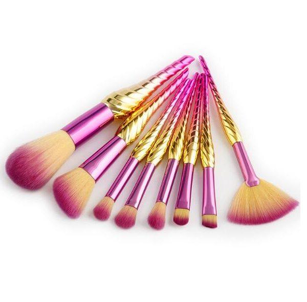 8pcs purple-gold seashell brush set