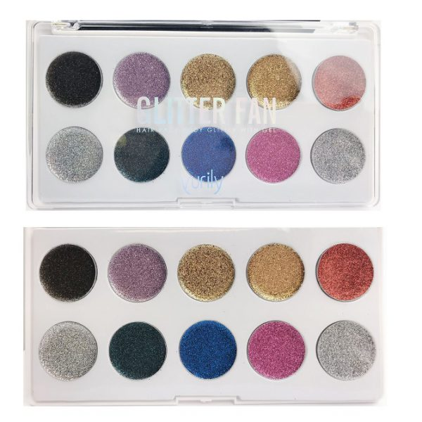 Yurily Glitter Fan Hair Face Body Palette