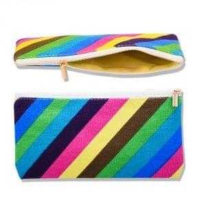 stripe makeup bag