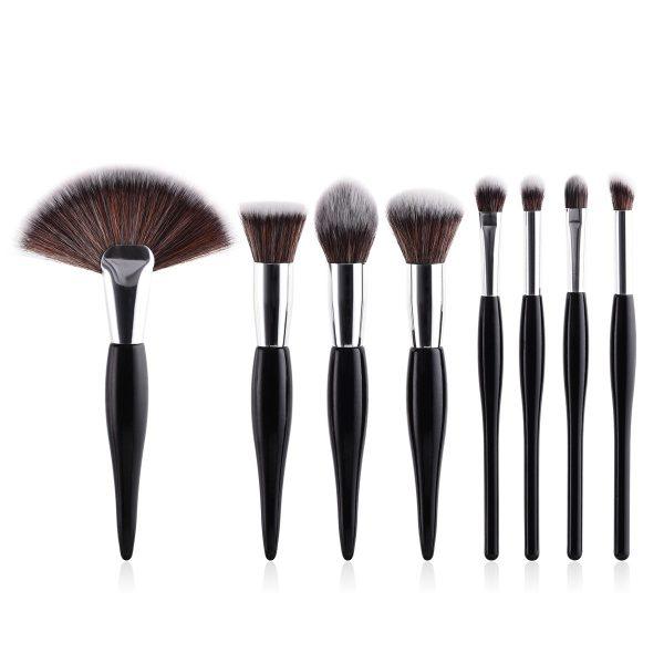 8pcs Black-Silver Makeup Brush Set