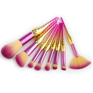 8pcs purple-gold seashell brush set