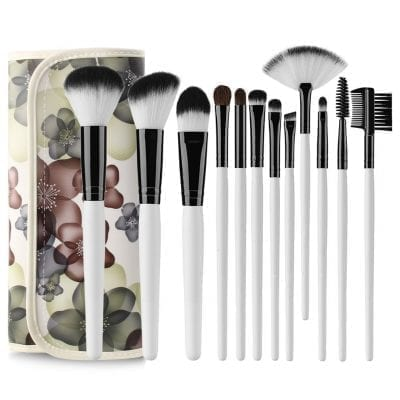 81d235e612a 12pcs Makeup Brush Set with Floral Holder Bag (black)