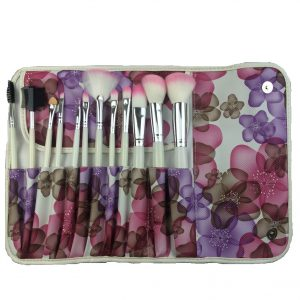 12pcs brush set pink flower bag 1