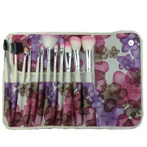 12pcs brush set pink flower bag 1