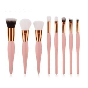 8pcs Nude-Pink Rose-Gold Curvy Brush Set