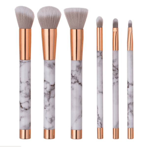 Glowii 6pcs Marble Rose Gold Style Handle Makeup Brush Set