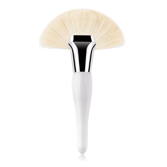 White Large Curvy Fan Brush