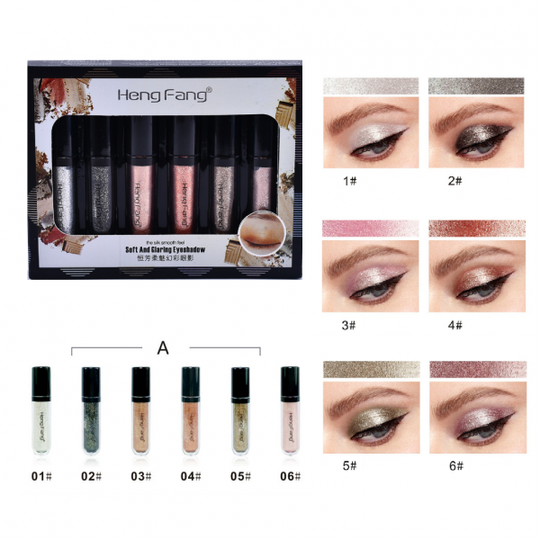 Heng Fang 6pcs Liquid Glitter Eyeshadow A