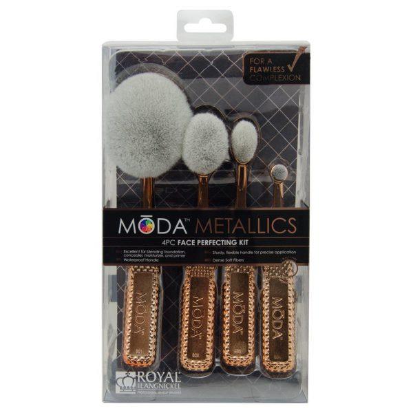 Royal & Langnickel MŌDA™ Metallics 4pcs Face Perfecting Rose-Gold Toothbrush Makeup Brush Kit