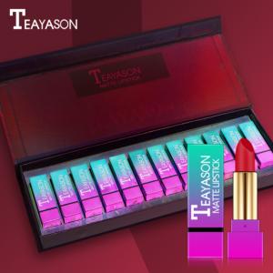 Teayason 12pcs Matte Lipstick Wine Red Box