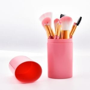 12pcs pink brush set with plastic case