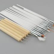 20pcs white nail brush with black case 1