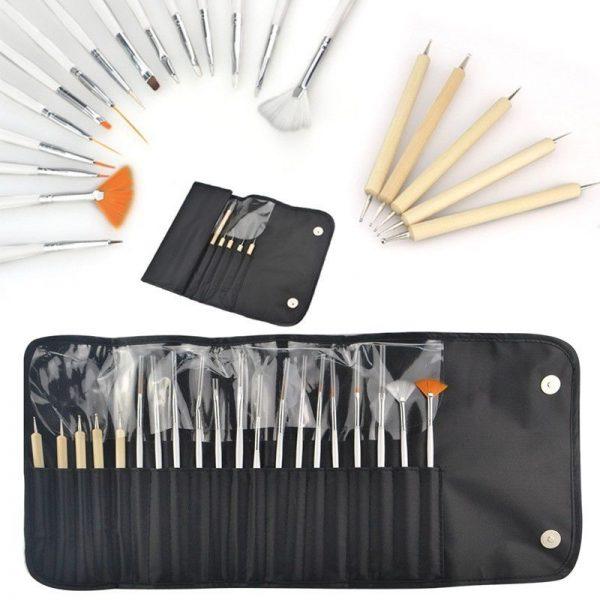20pcs white nail brush with black case