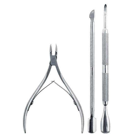 3pcs Stainless Steel Cuticle Nipper and Nail Pusher Set