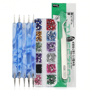 Nail gem stones, tweezers and dotting tools BLUE