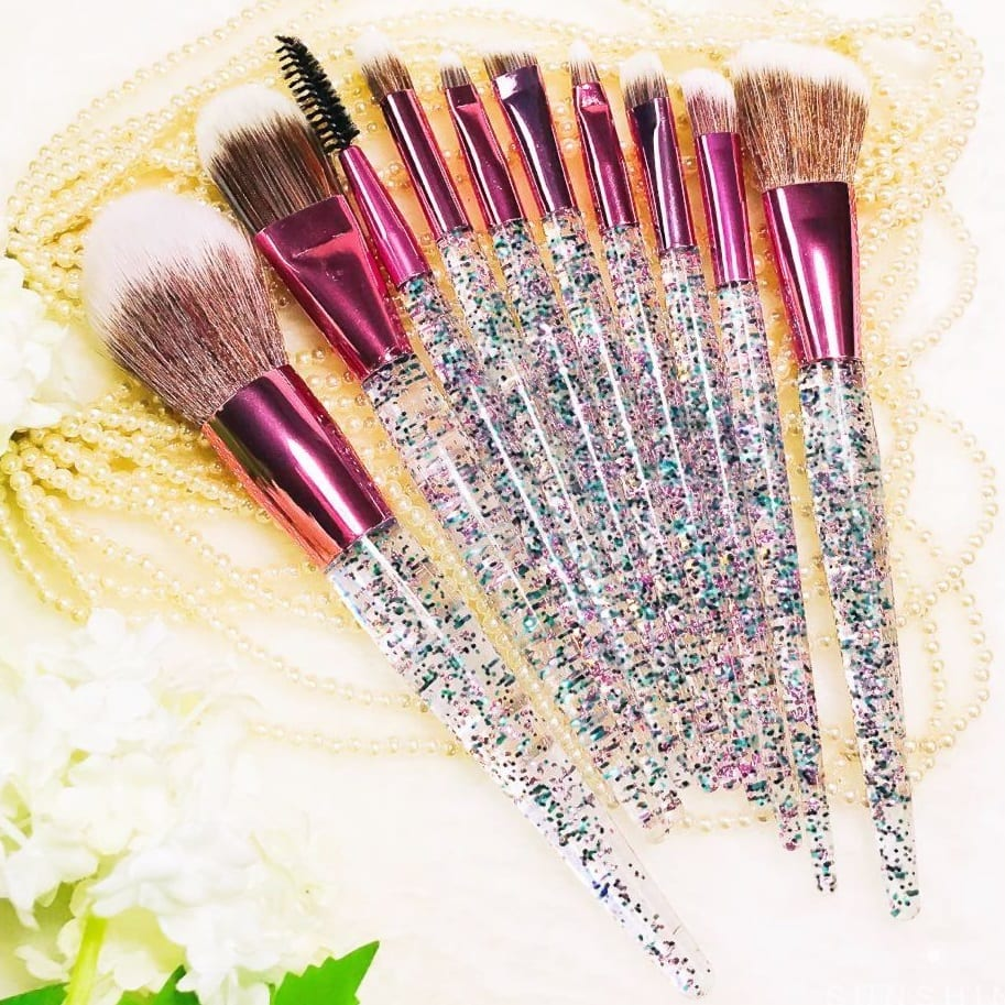 dcf8bab836c Glowii 10pcs Clear Glitter Rose-Gold Makeup Brush Set - Colour Zone ...