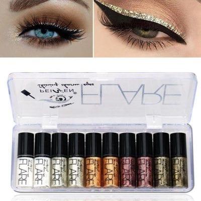 a6e50aea9b0 PeiFen 10pcs Flare Shining Charm Eyes Glitter Liquid Eyeliner/Eyeshadow Set