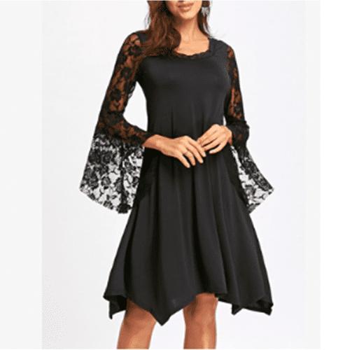 lace black dress plus size